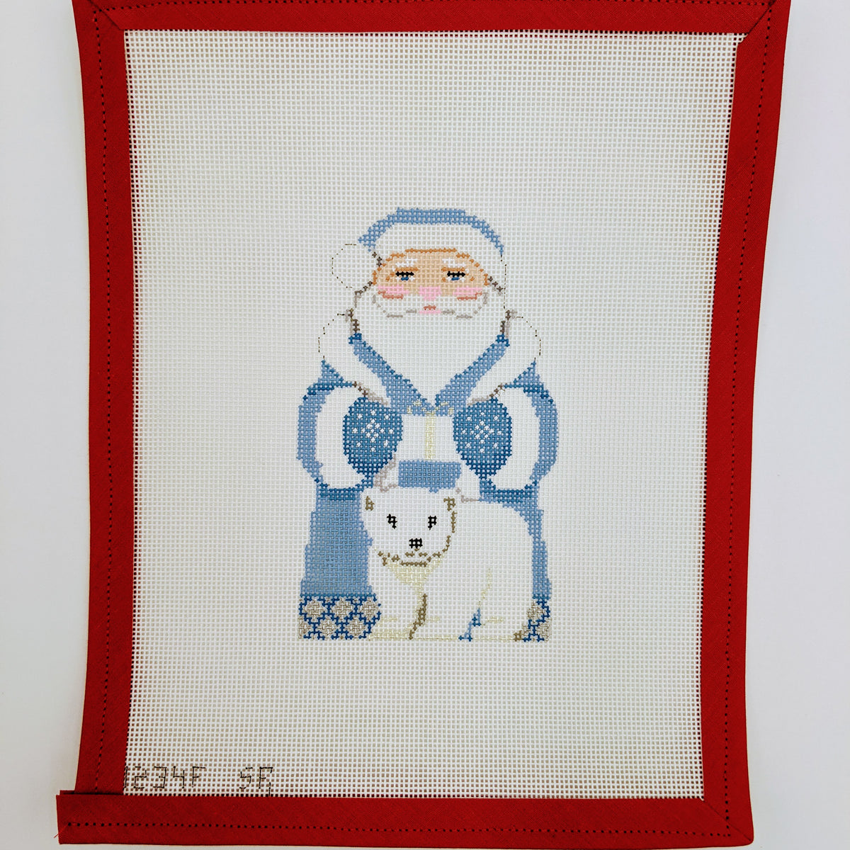 Arctic Santa in Blue Coat with Polar Bear