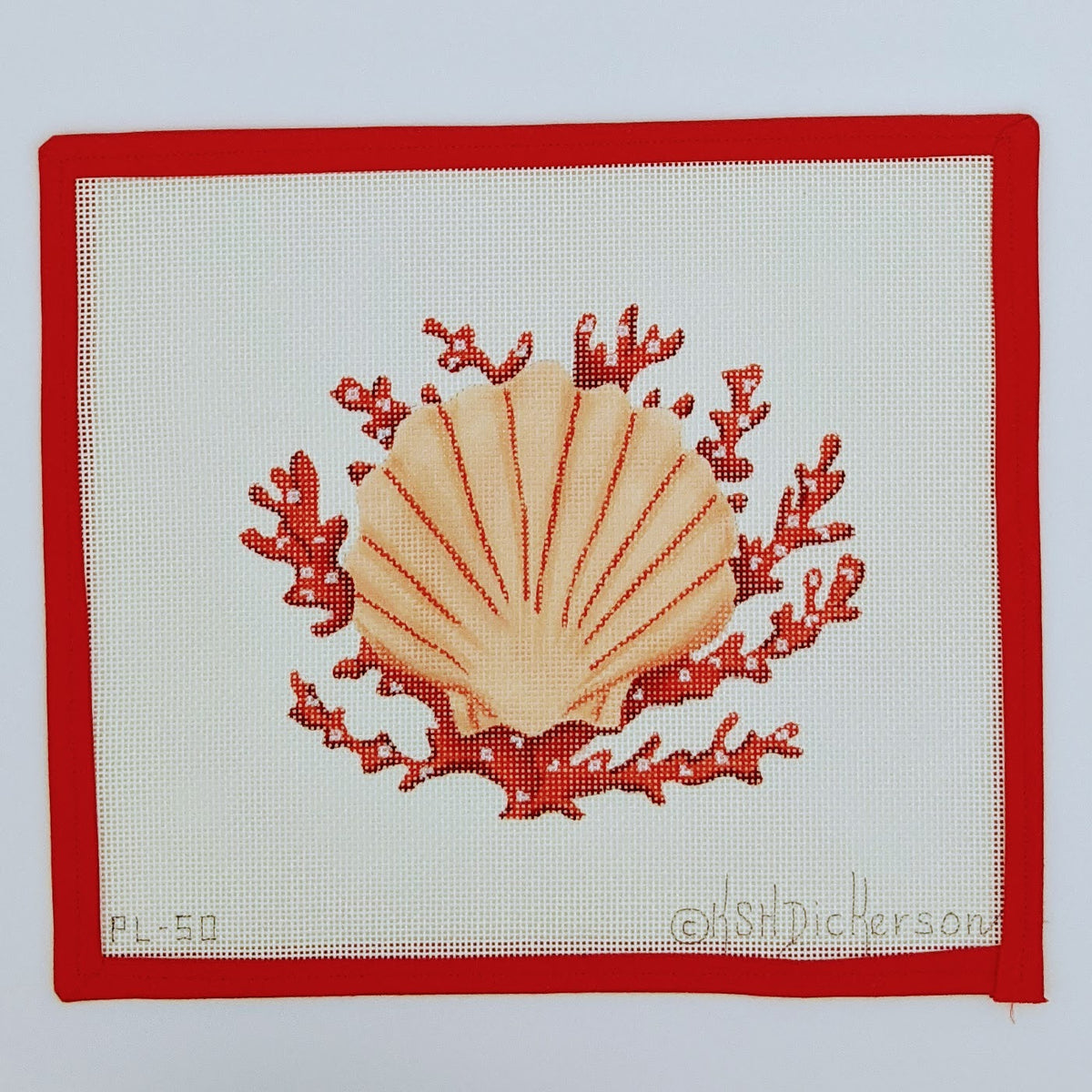 Scallop Shell with Coral