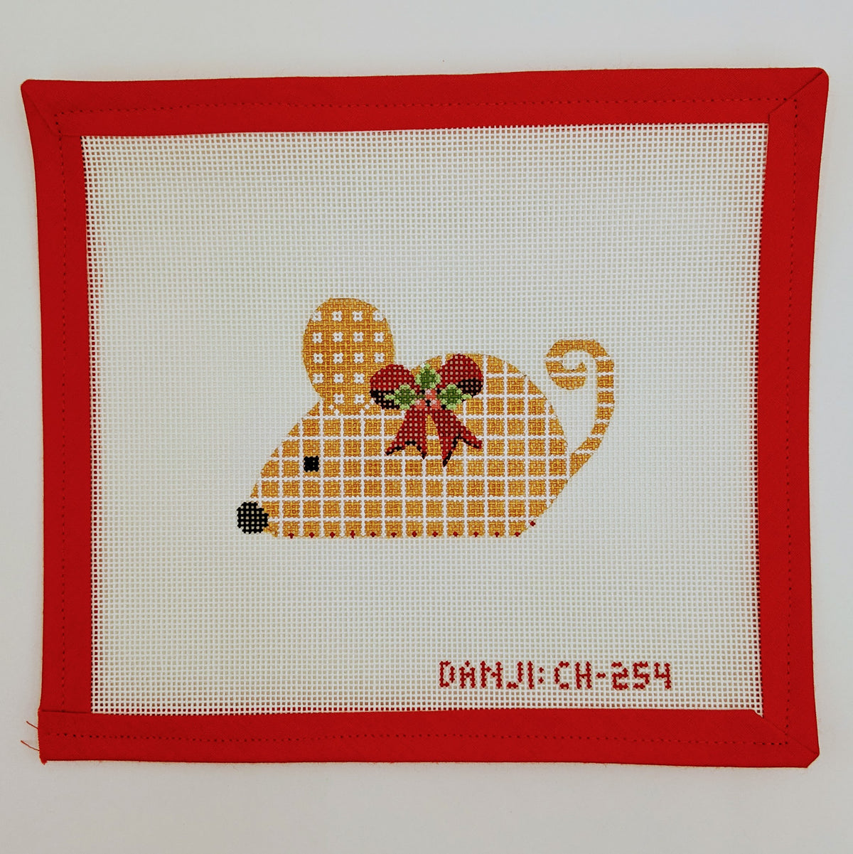 Gold Checkered Mouse with Red Bow Ornament to sit or to hang