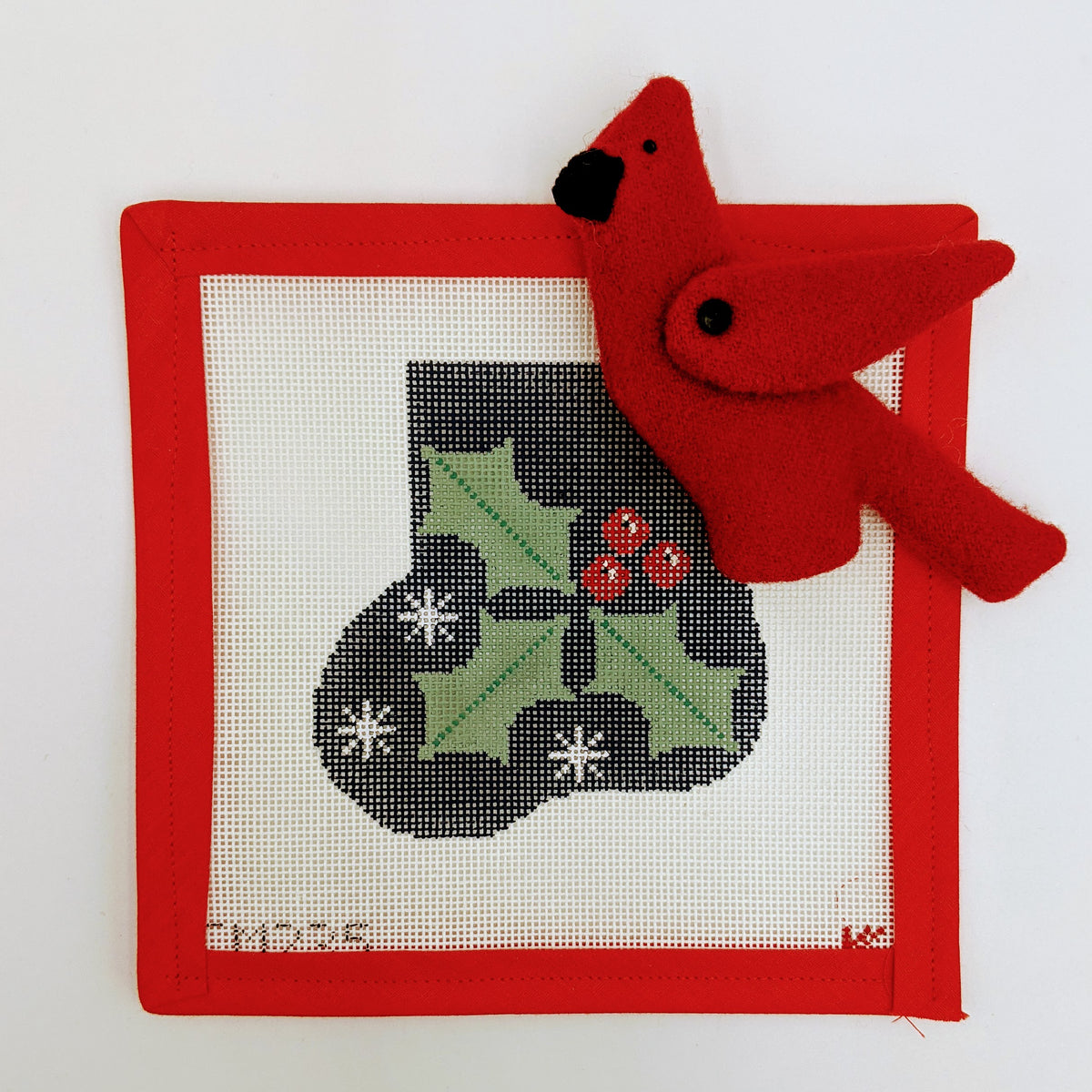 Mini Stocking with Christmas Holly and Cardinal Stuffie