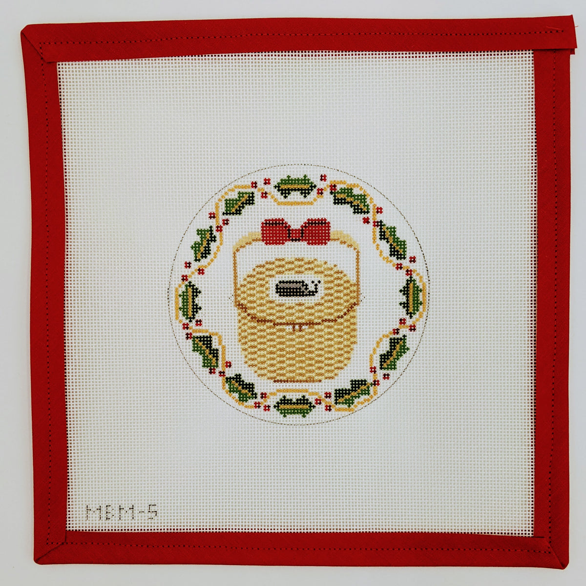 Nantucket Basket ornament with Holly border