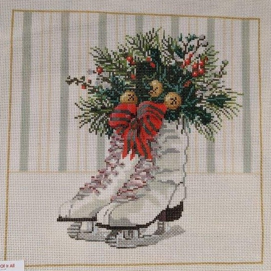 Ice Skates Christmas Pillow