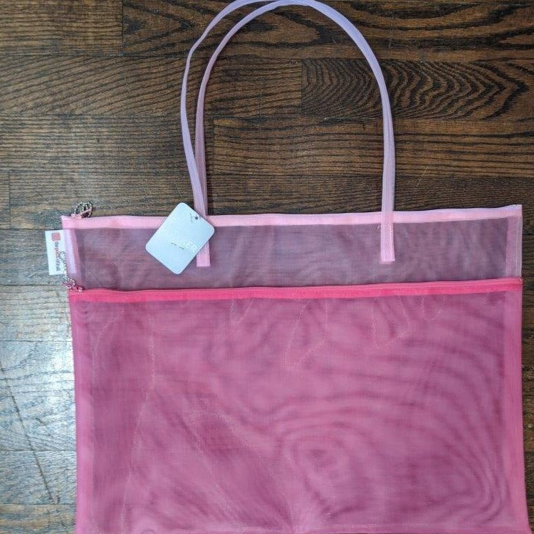 Two Tone Pink Mesh Double Zippered Project Bag with Handle