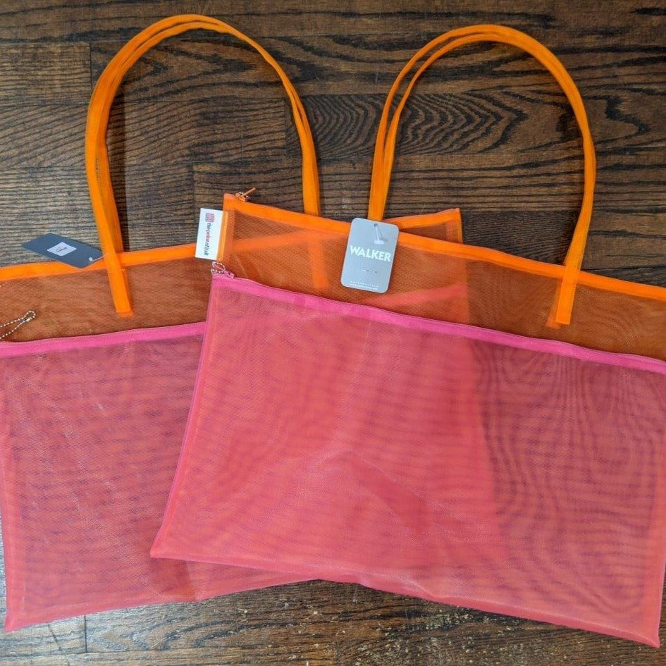 Pink & Orange Mesh Double Zippered Project Bag with Handle