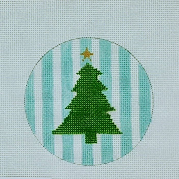 Christmas Tree on Teal Stripes