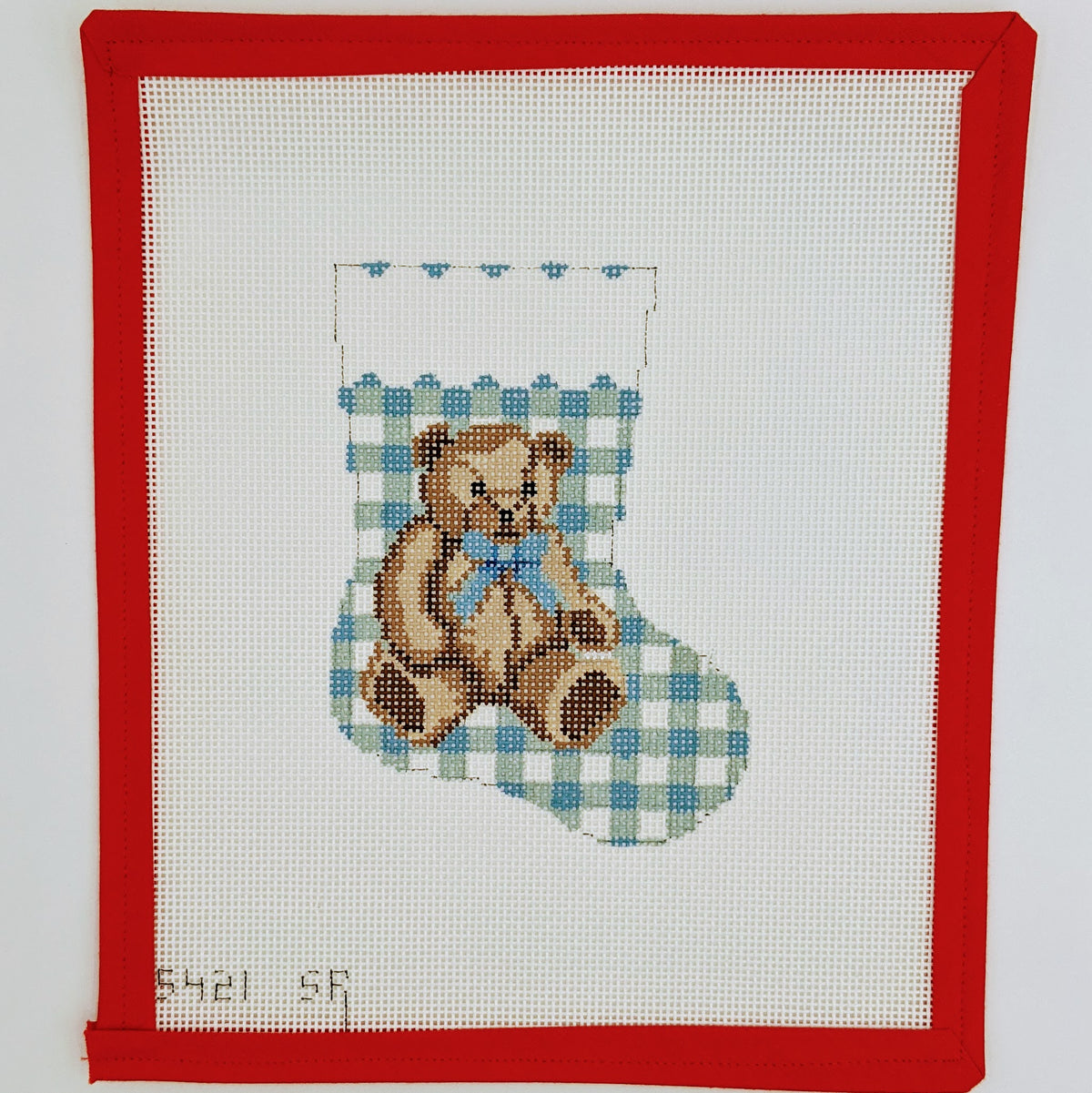 Teddy Bear (Blue) Mini Stocking on 13 mesh