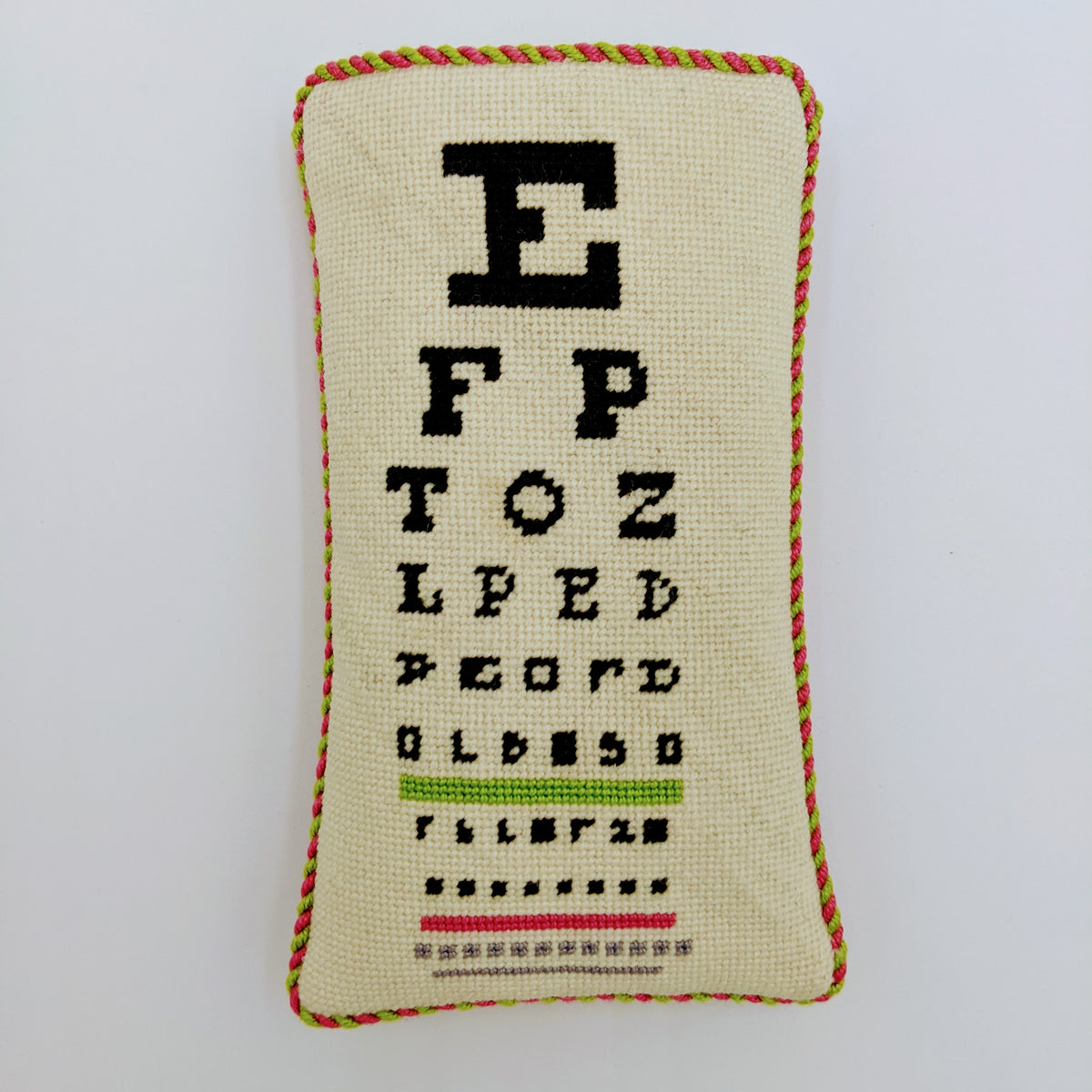 Eye Chart Eye Glass Case on 18 mesh
