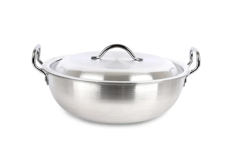 Professional Round Karahi Set Cookware Set 4 PCs Aluminium Metal Finish Stock Pot Casserole Large Pots
