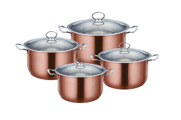 Professional Axinite Colour Stainless Steel Stockpot 4 Pcs Suitable for Induction Electric and Gas - 2624