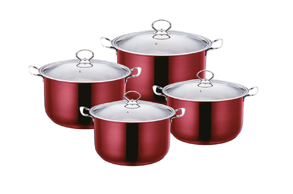 Professional Stainless Steel Stockpot 4 Pcs Suitable for Induction Electric and Gas - 2624