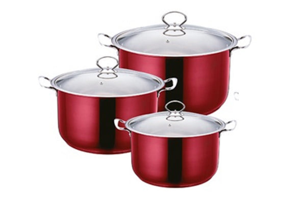 Professional Stainless Steel Ruby Colour Stockpot 3 Pcs Suitable for Induction Electric and Gas - 2625
