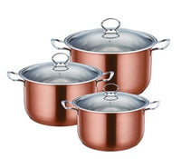 Professional Stainless Steel Axinite Colour Stockpot 3 Pcs Suitable for Induction Electric and Gas - 2625