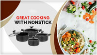 Professional Non Stick Stock Pot Casserole Wok Pan Twin Handles with Tempered Glass Lid