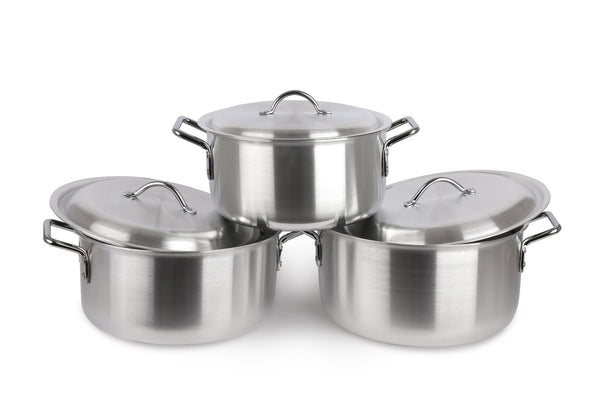 Aluminium Stock Pot Soup Pan 3 PCs Saucepan Cooking Stew Casserole 36 / 38.5 / 41 CM