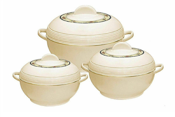 Hot Pot Set 3 PCs Insulated Casseroles Food Warmer Pot Set With Lids Cream