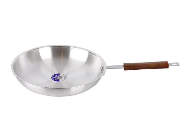 Quality Aluminium Frying Pan Wooden Handle Chef's Skillet Curry Pans For Professional Use