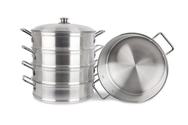 Food Steamer 5 Tier Cooker Pot Set Pan Casserole Stock Pots Metal Finish Lid - 32cm