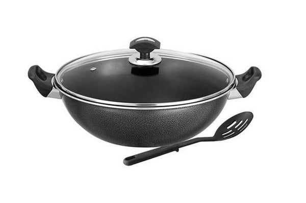 Non Stick Cooking Wok Deep Frying Pan with Lid and Spoon