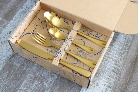 Classic 16 or 24 Piece Table Cutlery Shiny Gold