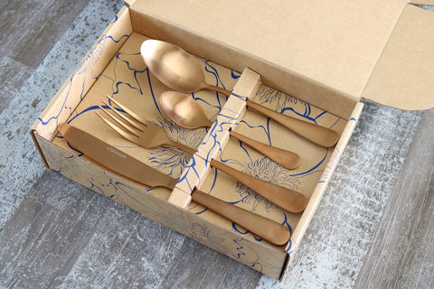Classic 16 or 24 Piece Table Cutlery Matte Rose Gold