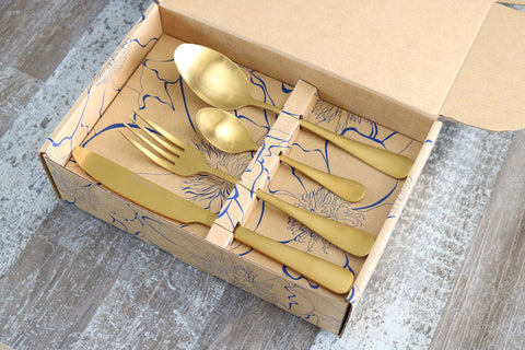 Classic 16 or 24 Piece Table Cutlery Matte Gold