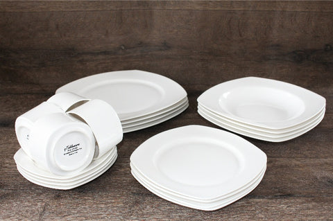 White Square Dinner Set 20 pcs