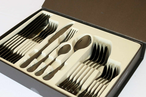 Cutlery Set Shiny Black (Shiny Gunmetal) 24 pcs