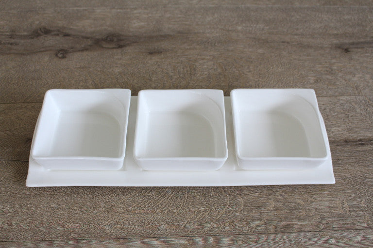 Square Saucer Set with Tray