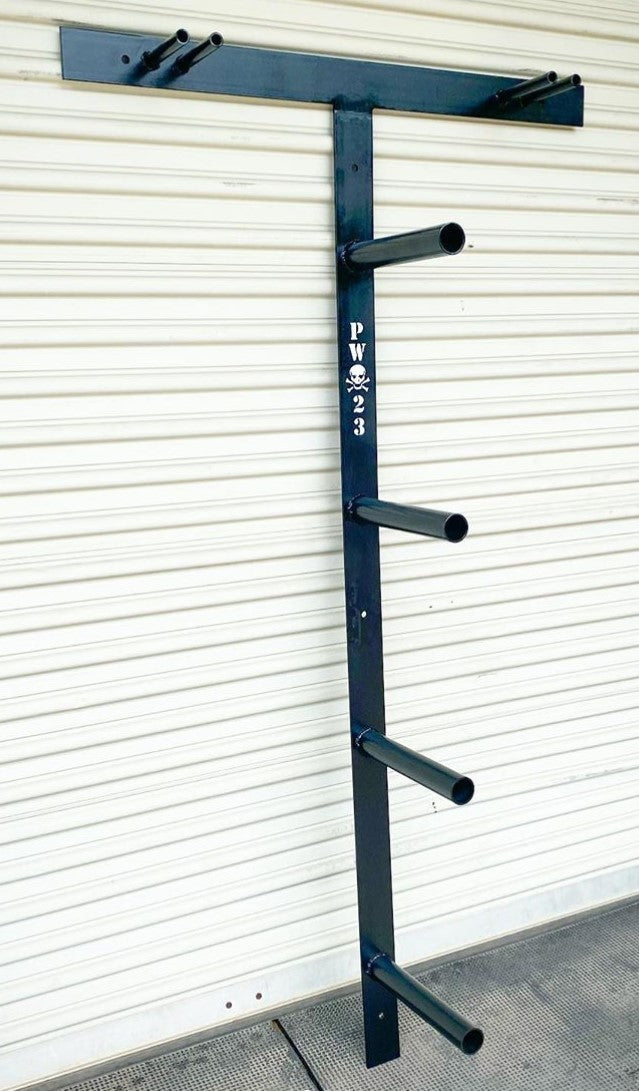Barbell and Bumper Plate Wall Mounted Hanger - Texas Garage Gym Builders