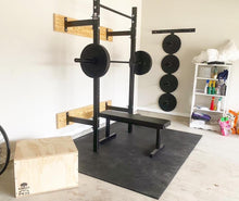 Load image into Gallery viewer, Barbell and Bumper Plate Wall Mounted Hanger - Texas Garage Gym Builders