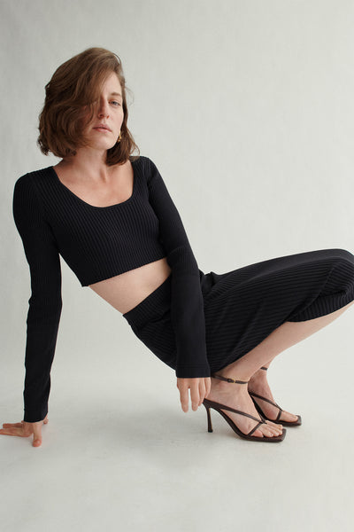 Recycled Nylon Long Sleeve Crop Top