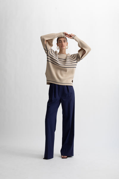 Recycled Cashmere Cotton Fisherman Rib Crew