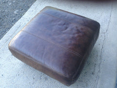 Refurbished Brown Leather Stool / Lovely Vintage Leather Footstool