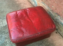 Vintage Leather Footstool / Oxblood Leather Pouffe