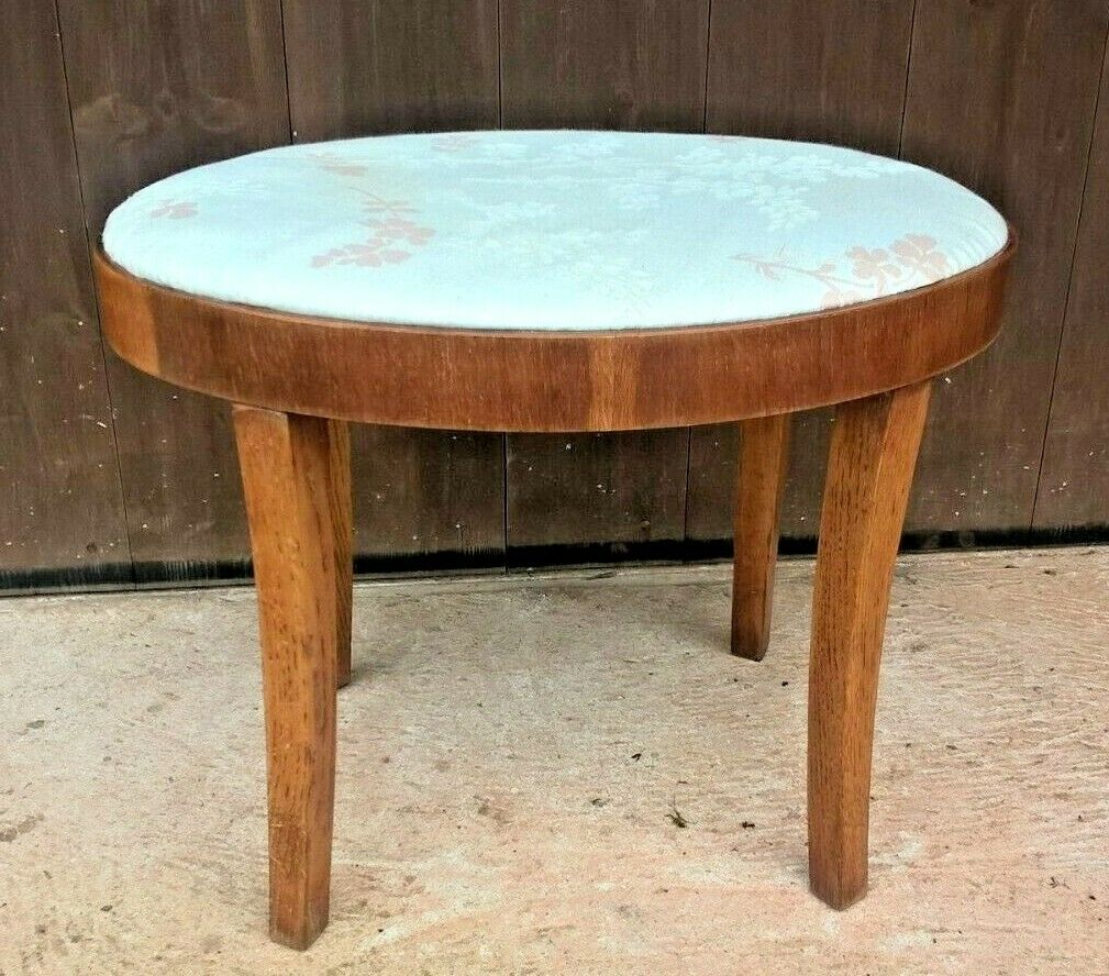 Art Deco Oak Stool / Oval Stripped Oak Stool