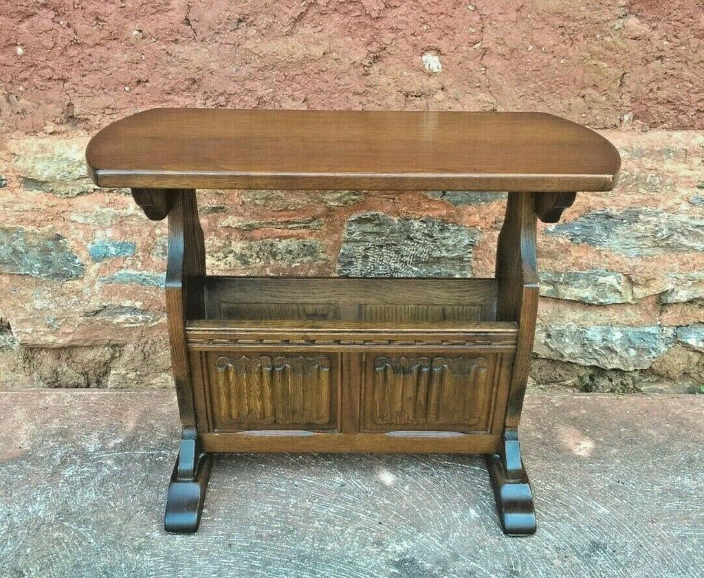304.....Old Charm Magazine Rack Table / Carved Oak End Table