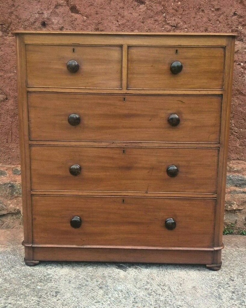 Antique Mahogany Chest Of Drawers With Rounded Corners