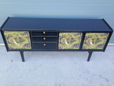 232.....Stunning Retro Sideboard Refinished In Black And Decoupage Decoration ( SOLD  )