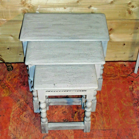 417.....Rustic Rough Finish Nest Of Tables / Vintage Nest Of Tables