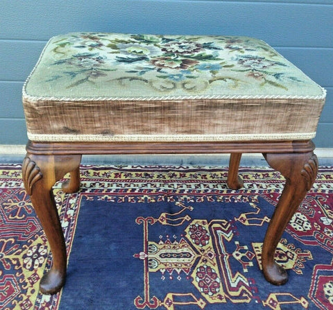 169...Vintage Stool By Maples / Carved Vintage Stool