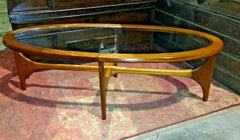 427.....Stateroom Retro Oval Coffee Table By Stonehill / Teak Retro Coffee Table