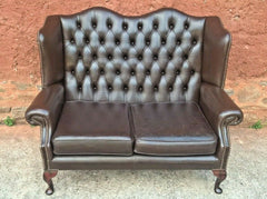 358.....Vintage Queen Anne Style Chesterfield Leather Sofa