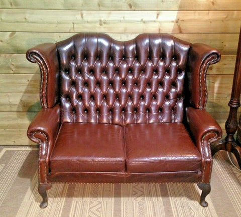 372.....Vintage Leather Chesterfield Style Sofa / High Back Sofa