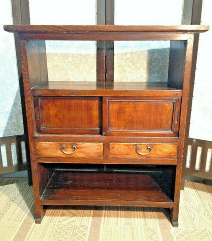 376.....Vintage Oriental Bookcase With Drawers / Oriental Cabinet
