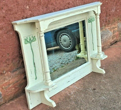 Art Nouveau Overmantel Mirror / Carved Frame Mirror