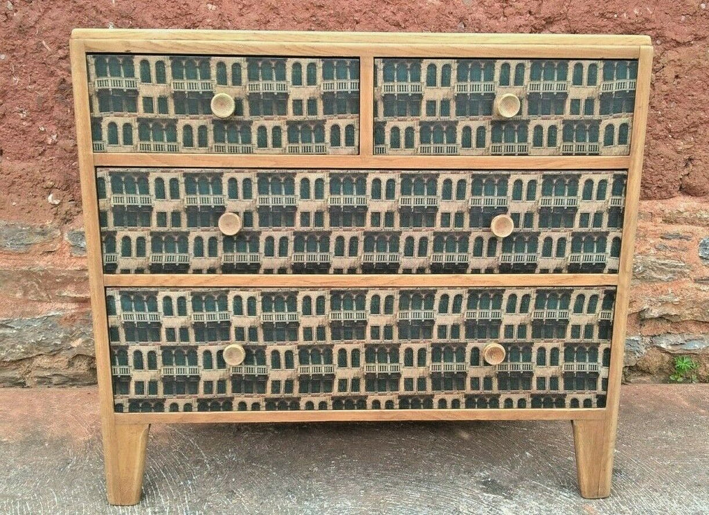 317.....Retro Oak Chest Drawers Upcycled Retro Chest