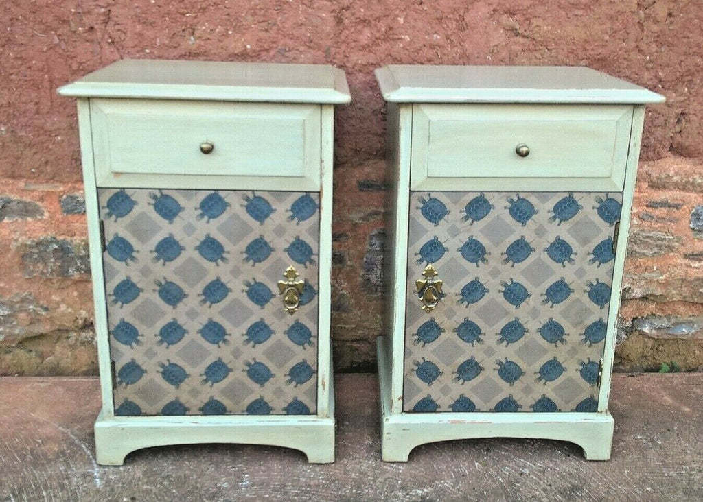 Pair Of Vintage Bedside Cabinets / Upcycled Bedside Tables