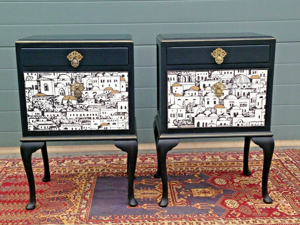 Bedside Cabinets With Fornasetti Style Decoration / Bedside Tables