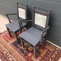 168.....A Pair Of Carved Oak Carver Chairs / Vintage Hall Chairs