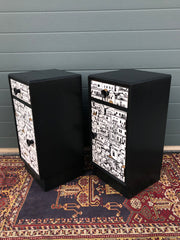 160.....Pair Of Refinished Art Deco Style Bedside Cabinets / Bedside Tables